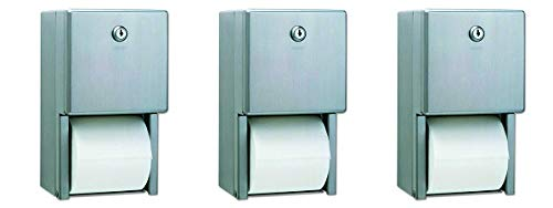 Bobrick B-2888 Classic Series Surface-Mounted Multi-Roll Toilet Tissue Dispenser, Satin (3-(Pack))