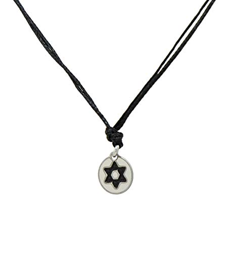 Black Choker Necklace with Stainless Steel Star of David Charm Pendant on Double Black Strand Necklace for Women - Light, Elegant, Hypoallergenic Jewelry