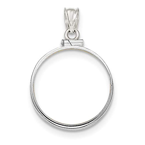 (14k White Gold Polished Screw Top 1/4 oz American Eagle Coin Bezel 22 mm x 1.8 mm)