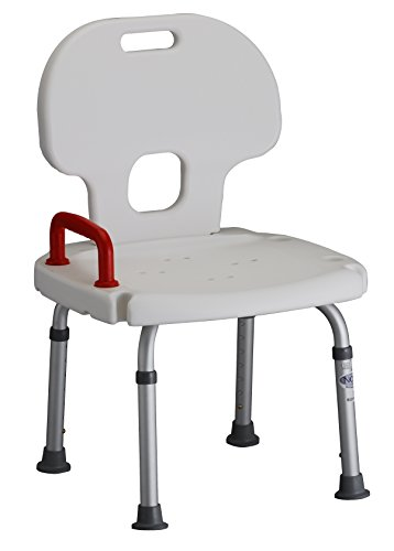 NOVA Medical Products Deluxe Adjustable Bath Bench with Safety Handle and Back, White, 8.5 Pound