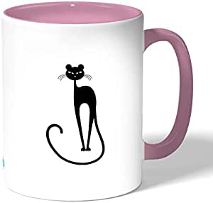 Stylish cat Coffee Mug by Decalac, Pink - 19015