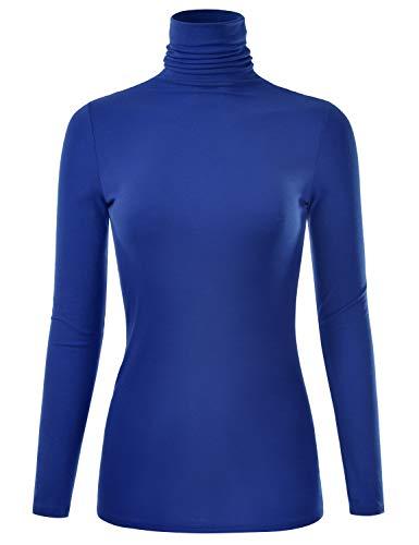 EIMIN Women's Long Sleeve Turtleneck Lightweight Pullover Slim Shirt Top RoyalBlue M