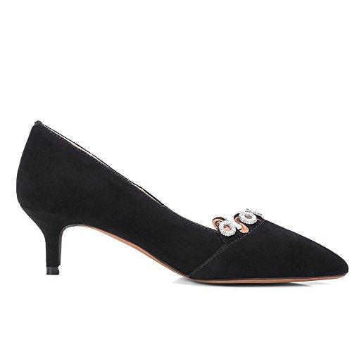 Nine Seven Cuero Moda Puntiagudos Tacones de Aguja con Diamantes de Imitacion de Vestir para Mujer negro