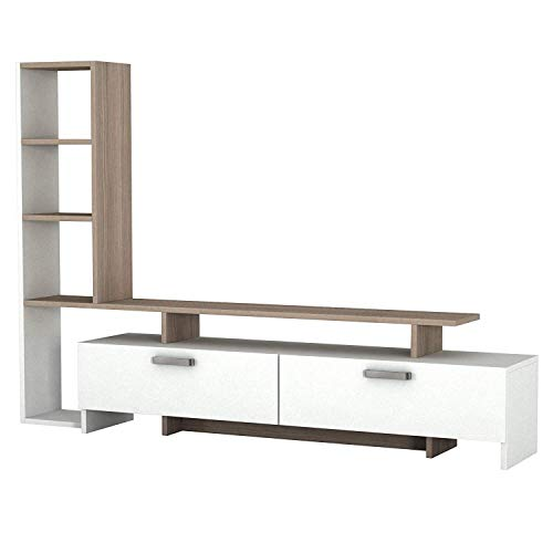 Prestige Decor TV Stand for 60 inch TV, Elite TV Stands, Modern TV Unit, TV Stands for Flat Screens, TV Stand Compatible with 60, 55, 50, 42, 40, 32 inch tv. TV Stand Brown, TV Stand White, Brown
