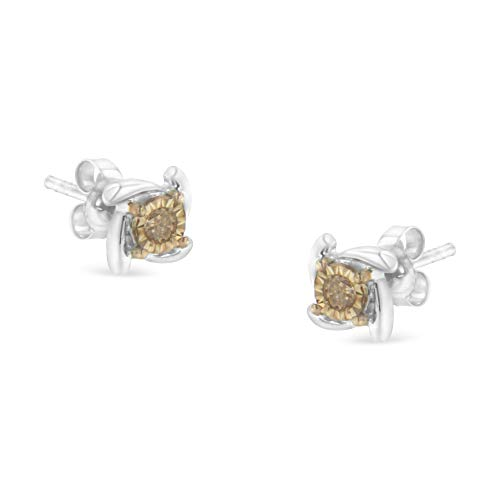 (Two-Toned Sterling-Silver Diamond Stud Earring (0.10 cttw, Champagne Color, I2-I3 Clarity))