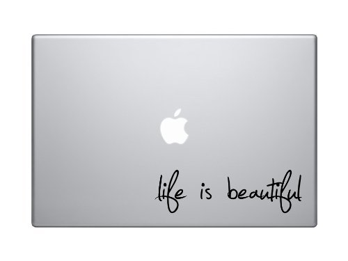 Life Is Beautiful Text Silhouette Macbook Symbol Keypad Iphone Apple Ipad Decal Skin Sticker Laptop, - Silhouette Woman Hand