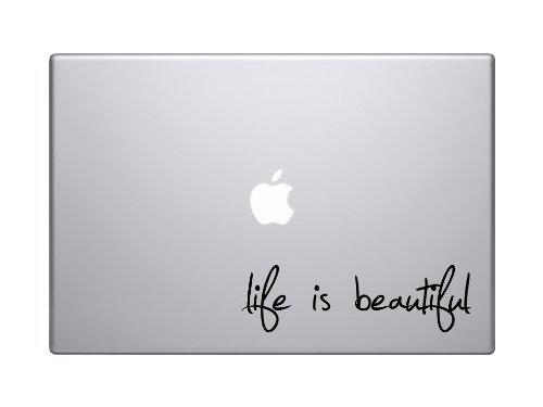 Life Is Beautiful Text Silhouette Macbook Symbol Keypad Iphone Apple Ipad Decal Skin Sticker Laptop, - Hand Silhouette Woman