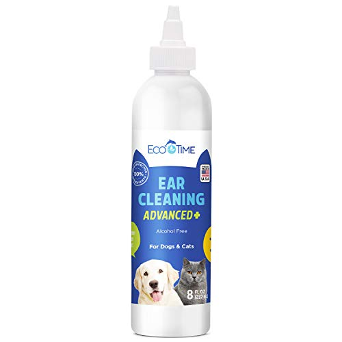 EcoTime Dog Cat Ear Cleaner Treatment - Otic Wash Solution For Infection Cleaning Mites Yeast Fungus - Drops for Dogs Cats - Helps with Infections Epiotic Treatment - Cleans & Flushes Away Made in USA