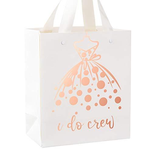 Crisky I Do Crew Gift Bag Rose Gold, Bridesmaid Gift Bags, Loot Bag, Bachelorette Party Bag, Hen Party Bag, Bridal Shower, Team Bride, Set of 12, 4