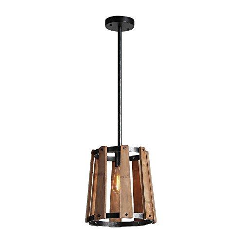 Eumyviv P0016 1-Light Loudspeaker-Shape Metal Wood Pendant Light Fixture Black Finished Retro Rustic Vintage Industrial Edison Ceiling Light Chandeliers