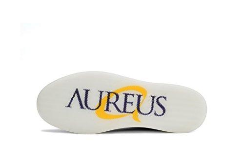 Aureus Mens Ferris Microfiber, Canvas Båt Skor Vit, Marinblått