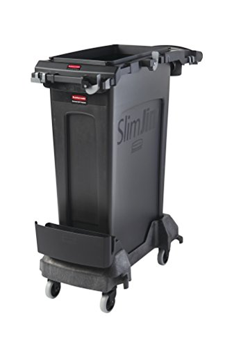 Rubbermaid Commercial Products 2032953 Slim Jim Rim Caddy Kit + 23 gal. Container, Black