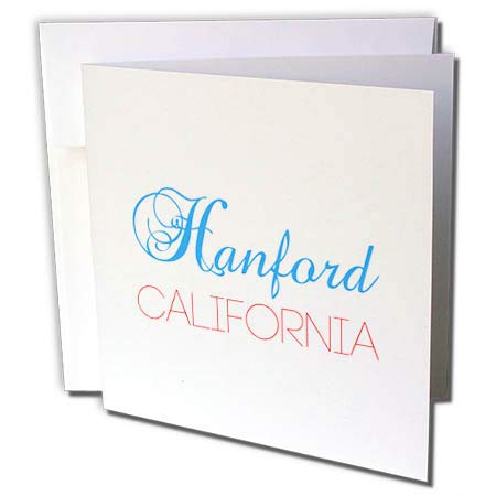 3dRose Alexis Design - American Cities California - Hanford, California, red, Blue Text. Patriotic Home Town Design - 1 Greeting Card with Envelope (gc_302746_5)