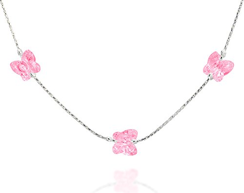 (Girls Butterfly Necklace Made with Original Swarovski Rose Crystal & 925 Sterling Silver, 16