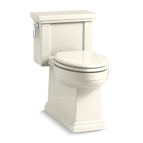 KOHLER K-3981-96 Tresham Comfort Height Skirted One-Piece Compact Elongated Toilet with Aquapiston Flush Technology and Left-Hand Trip Lever, Biscuit by Kohler