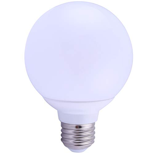 6 Pack LED G25 Vanity Globe Light Bulb - DIMMABLE - 6W (40 Watt Equivalent) Bright White (5000K) Shatter Resistant Energy Star E26 Base 450 Lumens ()