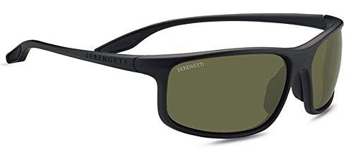 Serengeti Levanzo Sunglasses, Satin Black (Lens 555nm Satin Polarized Gun)