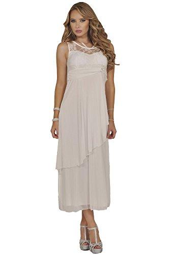 Women's Formal Chiffon Floral Lace Empire Waist Maxi Dress Elegant Party Gown