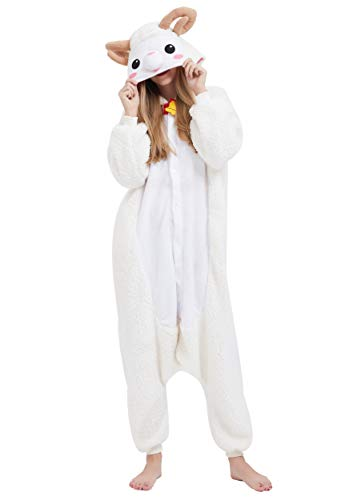 Adult Unisex Animal Pajamas Plush Cosplay Costume Onesie, Sheep