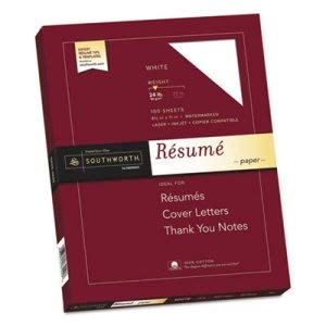 Southworth Co 100% Cotton Resume Paper, White, 24 lbs, Wove, 8-1/2 x 11, 100/Box (12 Boxes)