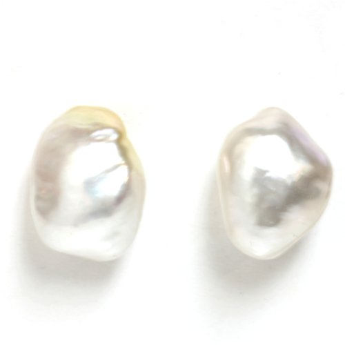 14k Gold - Australian south sea Keshi Pearl Stud Earrings 13 MM AAA Flawless Gold Keshi Pearls