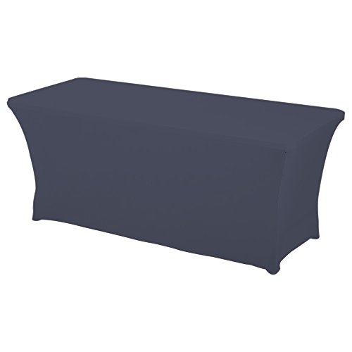HAORUI Rectangular Spandex Table Cover (6 ft. Pewter) Pewter Desk Accessories