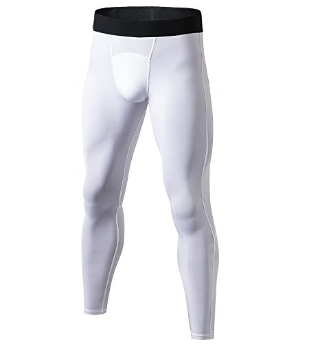 Lavento Men's Compression Pants Mesh Cool Dry Workout Tights (1 Pack-1040 White, Medium)