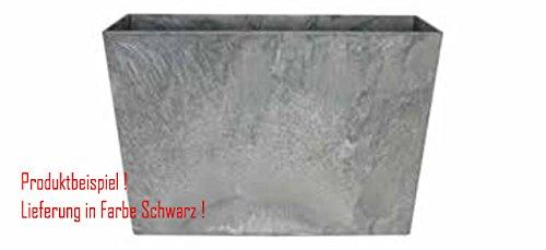 Blumenübertopf Artstone Ella divider aus Kunststoff, sonnen-und regenbeständig für Innen und Außen, Farbe Schwarz 60x26x40cm