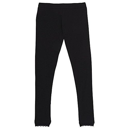 French Toast Girls' Big Lace Trim Legging, Black, XL (14/16)