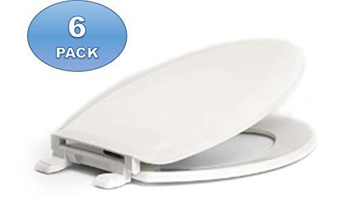 6 Pack - Centoco 1600-001 Elongated Plastic Toilet Seat, Standard Economy Model, White