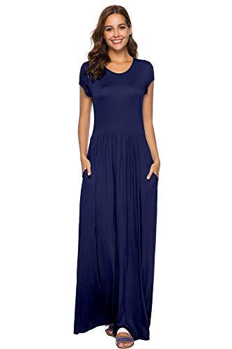 Maxi Women's with Long Navy Sleeve Short Pockets Genluna Casual Dresses Plain Dresses Loose wqSBXRX