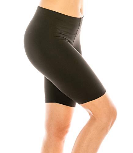 (CNC STYLE B001 Women's Layering Knee Length Stretch Active Workout Teamwear Bermuda Yoga Short Biker Leggings, Black, Large)