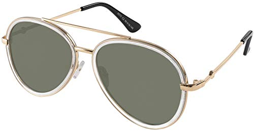 Double Bridge Aviator Gold clear transparent frame with Green lens
