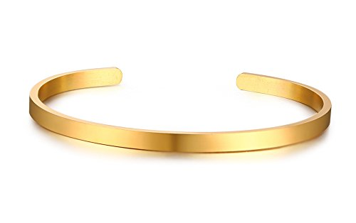 Custom Bangle - Mealguet Jewelry Inspirational Bracelets,Gold Plated Stainless Steel Skinny Plain Name Message Quote Stacking Cuff Bangle Bracelets