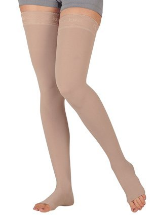 Juzo Varin Thigh High w/Waist Attachment 30-40mmHg Open Toe Right Leg, II, Beige -