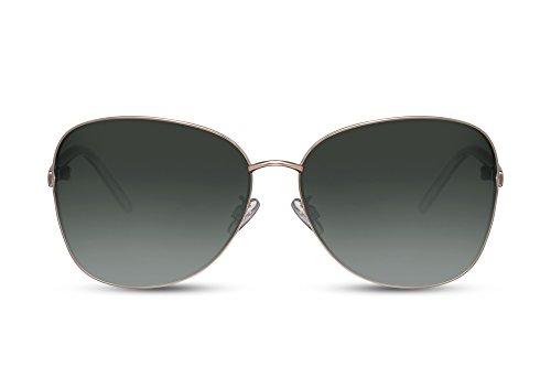 Cheapass Lunettes de soleil Noir Verres Ronds Lentilles Bleu Effet Miroir UV400 Rétro Femme Homme IT75G2
