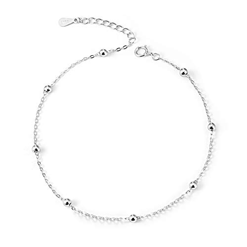 - LINGBG Ball Bead Anklet S925 Sterling Silver Thin Cable Chain Adjustable Anklets for Women Girls Beach Style Bracelets Anklets Jewelry