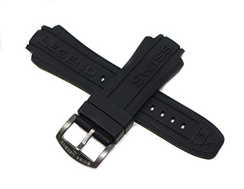 Swiss Legend 15MM Black Silicone Band Strap & Gunmetal Gray Stainless Buckle fits 40/44mm Neptune Watch