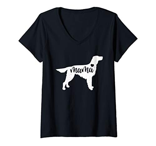 - Womens Irish Setter Mama Mom Dog Cute Mothers Day Gift V-Neck T-Shirt