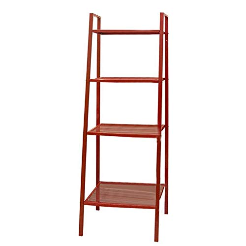 Jcnfa-Shelves Trapezoid Bookcase Carbon Steel Wall Frame Shelf Shelf Iron Bookshelf Kitchen, Bathroom, 4 Floors Large, 3 Colors (Color : Red, Size : 23.6213.7758.26in)
