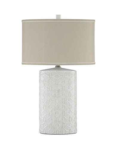 Ashley Furniture Signature Design - Shelvia Textured Ceramic Table Lamp with Oval Drum Shade - Antique White - Antique Drum Table