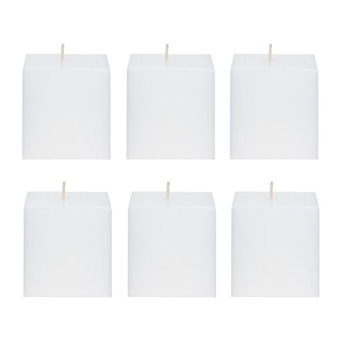 Mega Candles 6 pcs Unscented White Square Pillar Candle | Hand Poured Premium Wax Candles 3