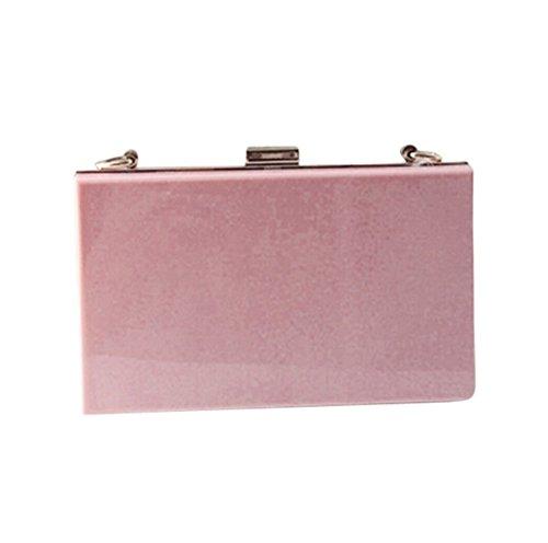 Remeehi Transparent Acrylic Perspex Evening Clutches Shoulder Bags Handbag for Women (Pink)