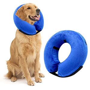 AikoPets XL Protective Inflatable Collar Dogs Cats - Soft Pet Recovery Collar Does Not Block Vision E-Collar ()