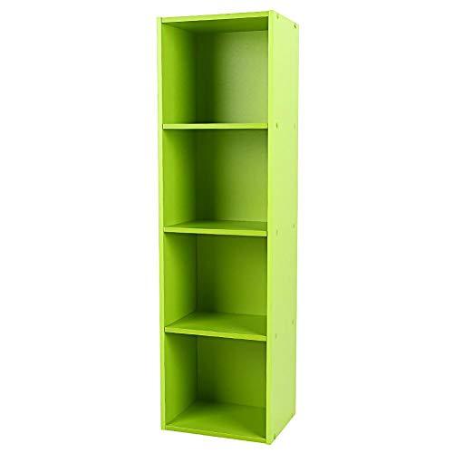 ROBTLE Open Shelf Bookcase Wood, 4-Shelf Multi-Functional Modern Storage Display Bookshelf for Home Office, Green 9.3 x 11.8 x -