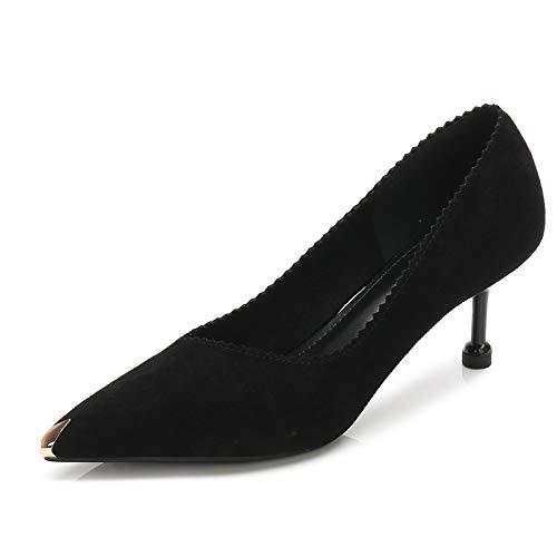 alto Salvaje E Black Invierno zapatos Mujeres De Gamuza Gamuza Zapatos Moda Alto Yukun de De Otoño Tacón Solos Fino con tacón De pZwq1tTx1