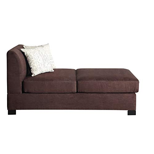 Benzara BM168798 Microsuede Chaise with Cushions, Chocolate Brown (Microsuede Sectionals)