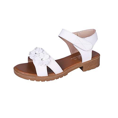 (YKARITIANNA Womens Girls Sandals, Fashion Summer Hot Women Summer Flower Open Toe Hoop&Loop Leisure Sandals White)