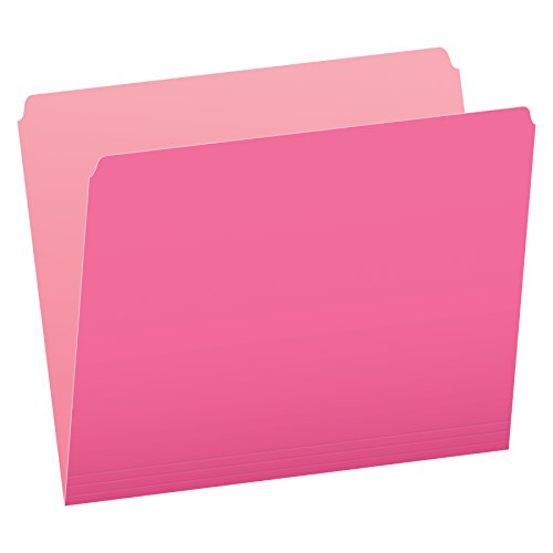 Pendaflex Two-Tone Color File Folders, Letter Size, Pink, Straight Cut, 100/BX (152 PIN)