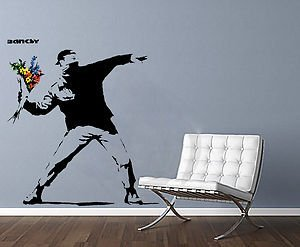 Banksy Gangster Protest Man Throwing Flowers, Iconic Image, Sticker, Wall  Art, Mural